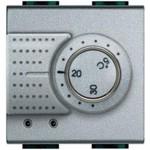 Термостат электронный комнатный Bticino LL 2А 250В, с датчиком теплого пола, 2 мод., алюминий, Bticino